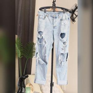 H&M Ultra Distressed low Rise Boyfriend Jeans
